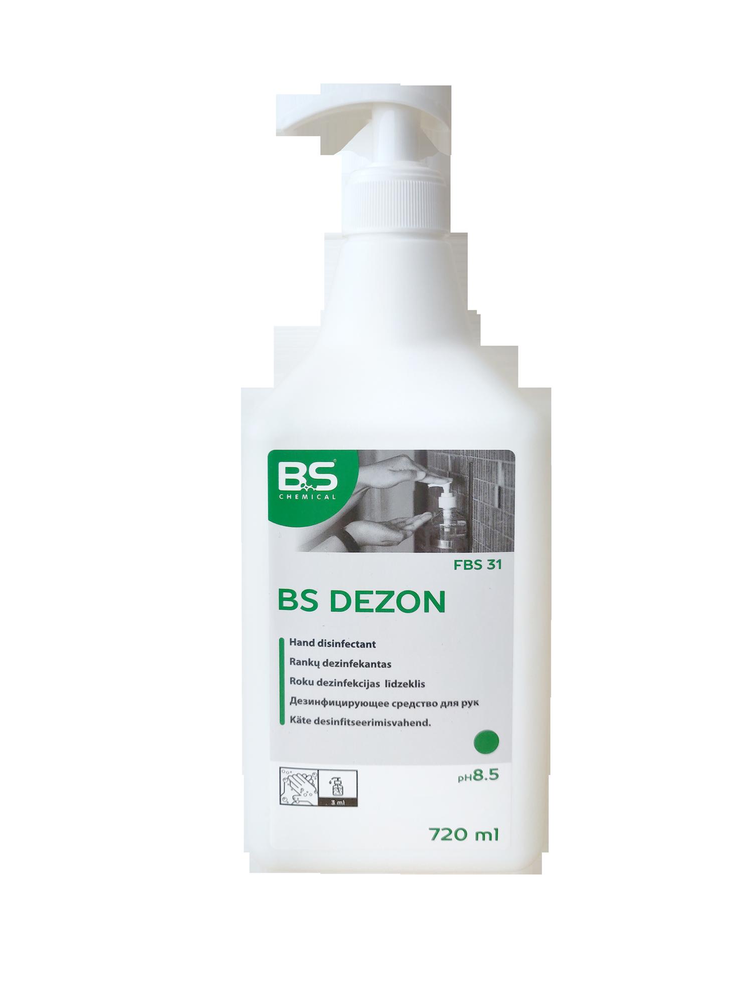 BS Dezon G desinfitseeriv geel, 720ml, alkoholiga, pumppudel, kastis 12tk