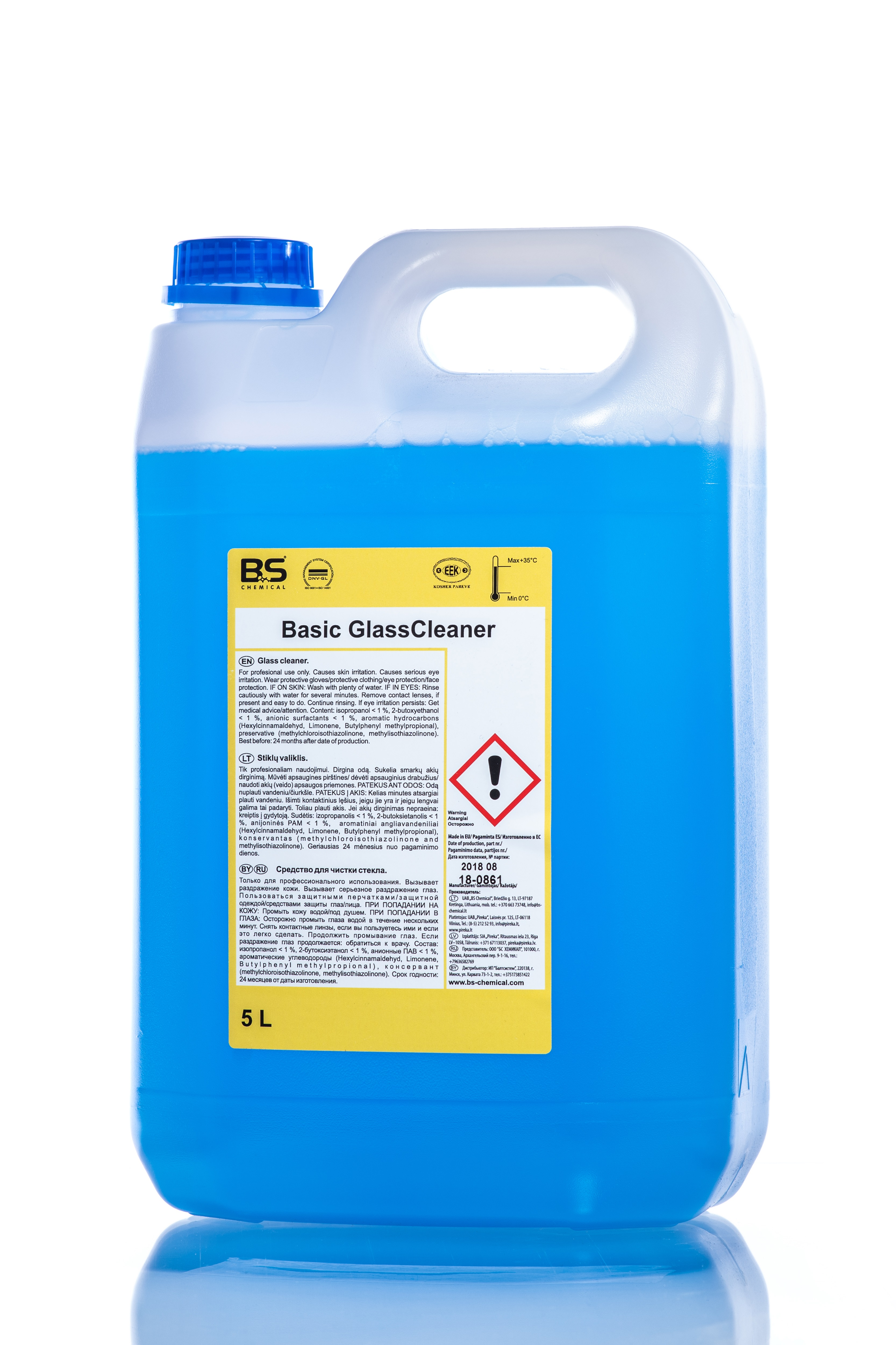 Basic Glass Cleaner 5L , klaaspindade puhastusaine