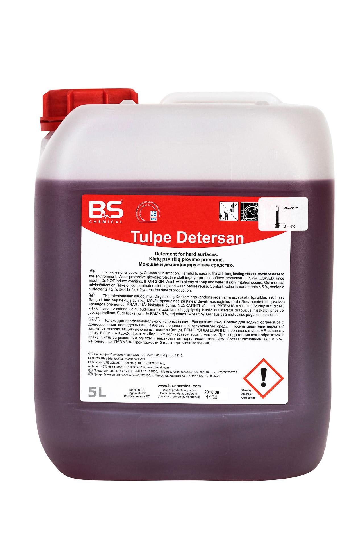 Tulpe Detersan 5L, desinfitseeriv puhastusaine, pakend 1 tk