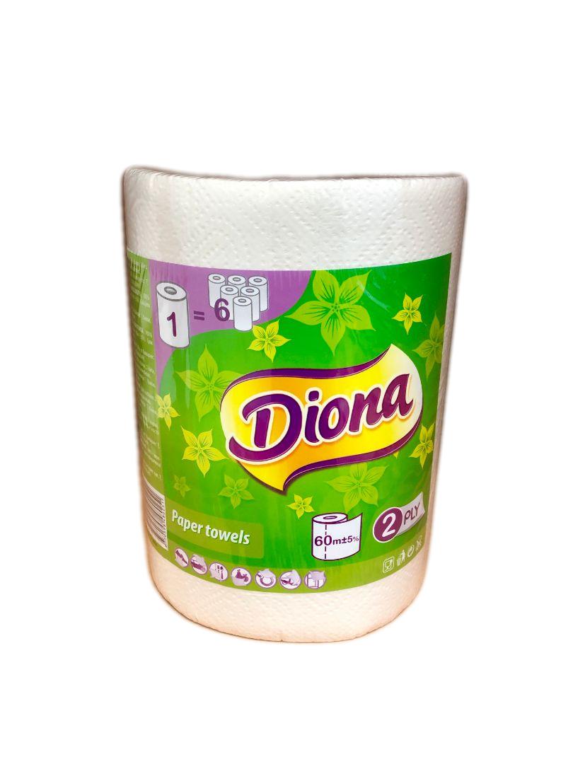 Rullkätep. Köögirull Diona, pakis 6 rulli, 60m, 2*, valge, 340 lehte