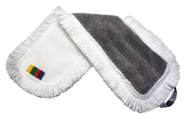 HT Mopp 60cm, haakuv, mikrokiud, Polüester/Viskoos, hall, valgete narmastega.