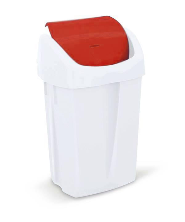 Prügikast 50L, klappkaanega, punane-valge