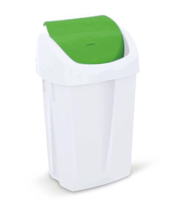 Prügikast 50L, pedaaliga, kaanega, valge-roheline