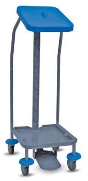Prügikotikäru 70L, kaanega, plastik, 4 ratast, pedaal, sinine-hall