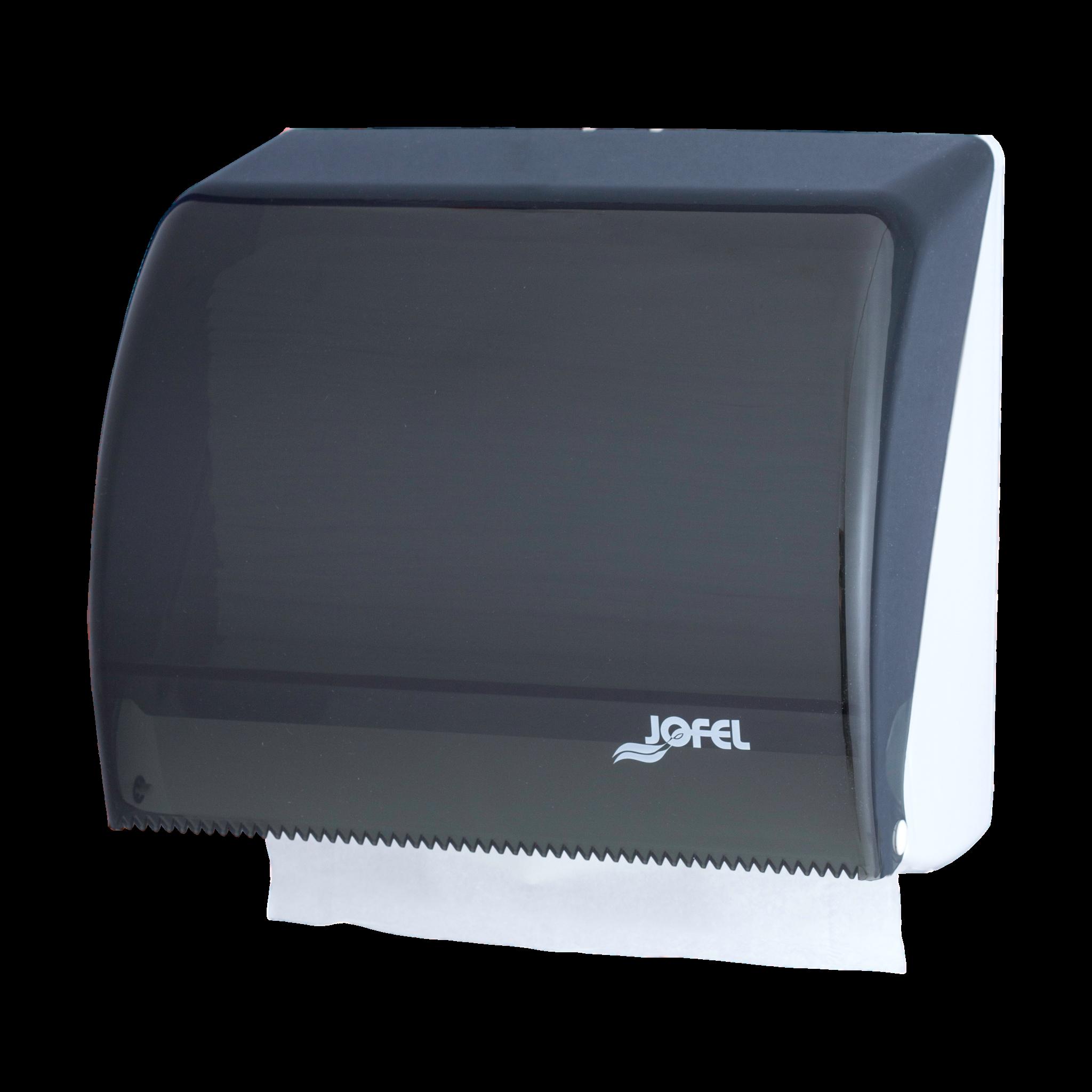 Jofel Azur Combi lehtkätepaberi või käterulli dosaator, Z, hall-läbipaistev, 25x26x18 cm
