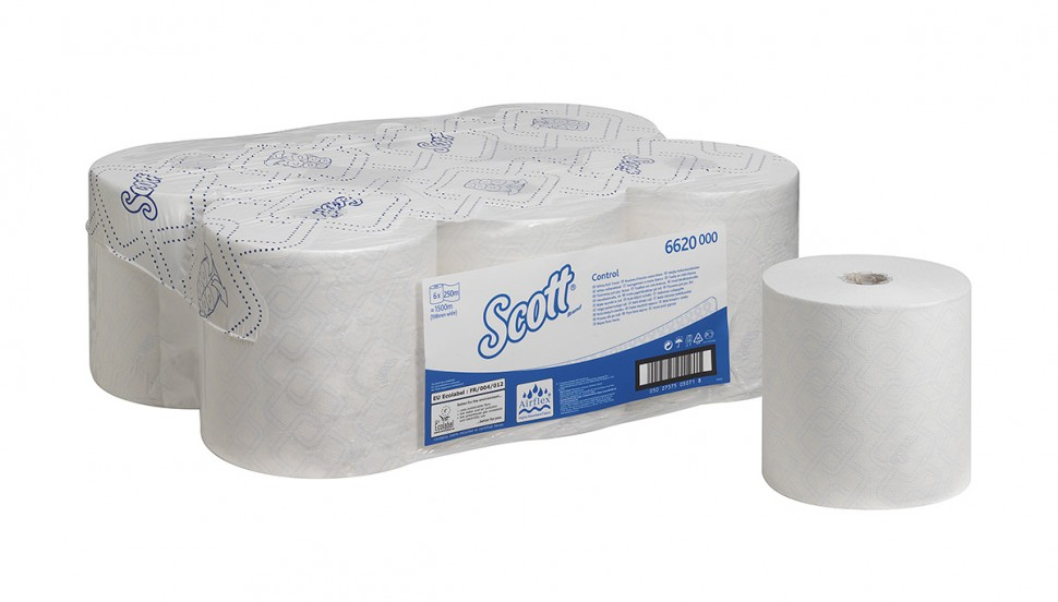 Kimberly-Clark® rullkätepaber Scott Control, kastis 6 x 250m,1*/2*, valge, LÕPUMÜÜK