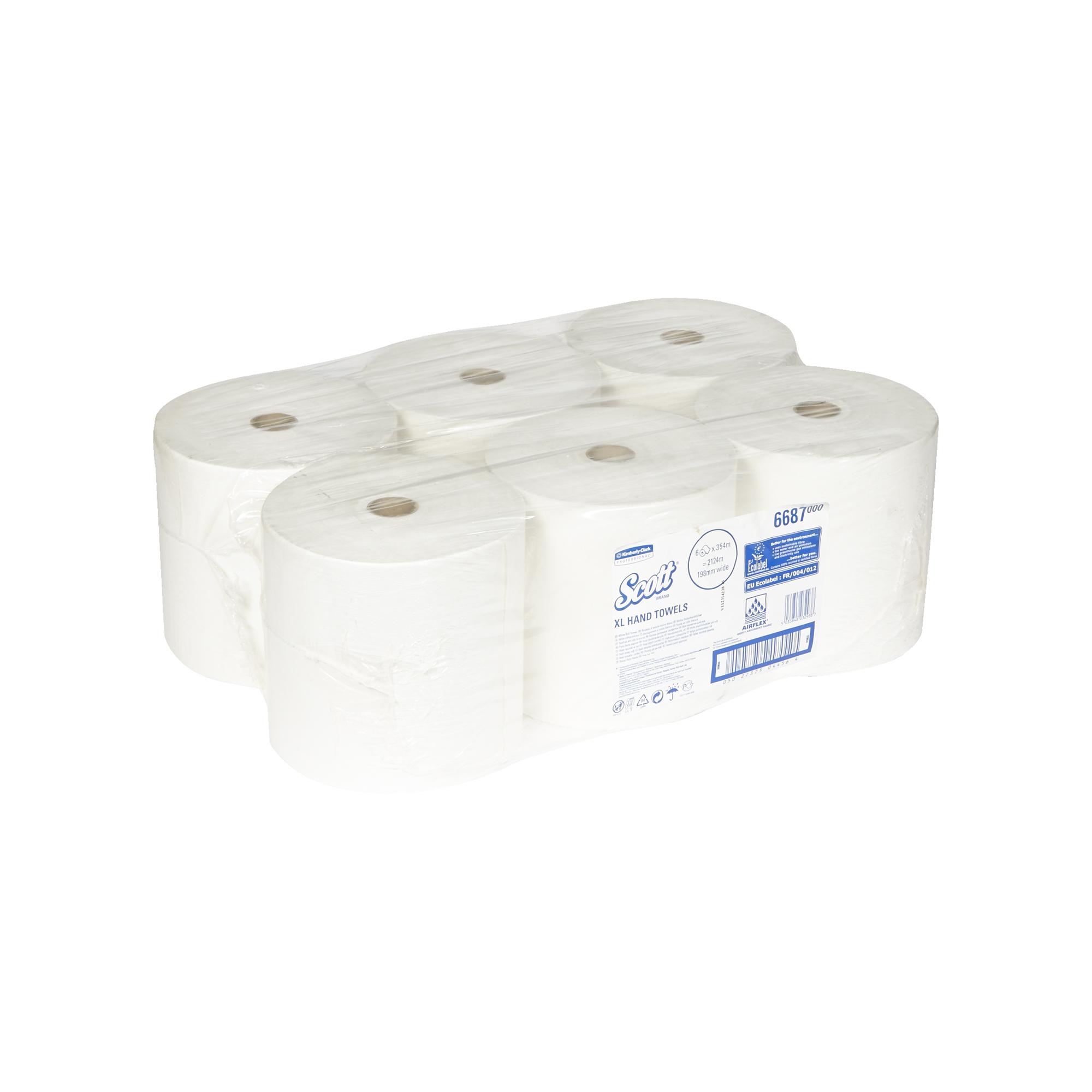 Kimberly-Clark® Rullkätepaber Matic Scott XL Airflex, 6tk kastis, 2-kihiline,  valge