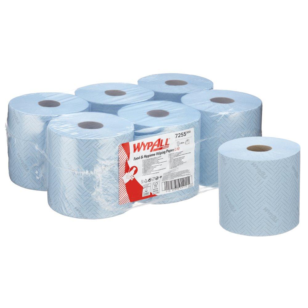 Kimberly-Clark® Rullkätepaber Wypall Food&Hygiene L10 kesktõmbega, kastis: 6tk x 304m, 2-kihiline, sinine