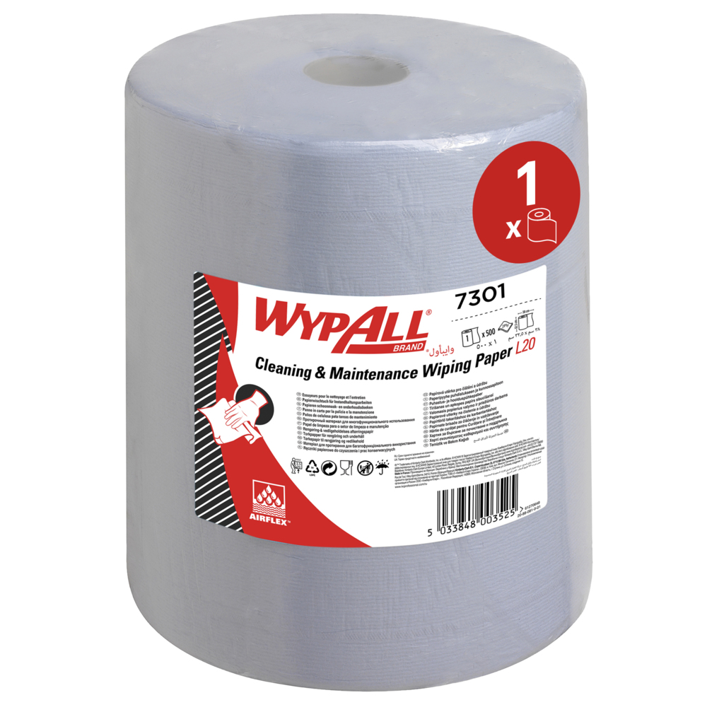 Kimberly-Clark® Tööstuslik paber Wypall L20 Extra, kastis: 1x190m, 4-kihiline, sinine