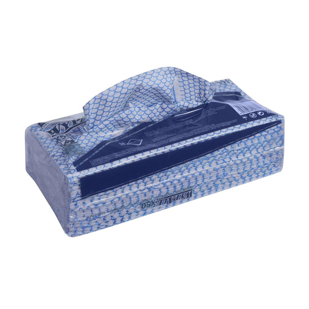 Kimberly-Clark® Wypall X50 päevalapp, sinine, pakis 50 tk, kastis 6 pk.