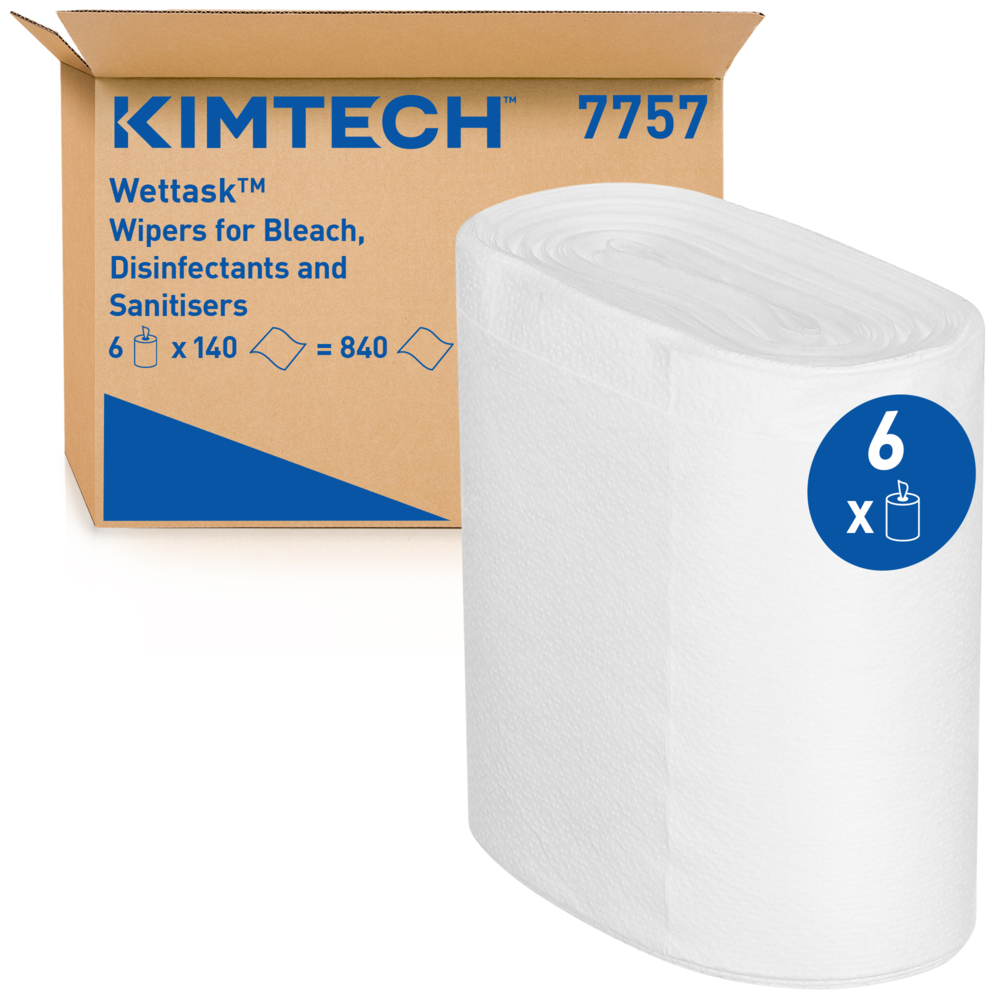 Kimberly-Clark®WETTASK DS Kimtech lapid rullis, kastis 6 rull, 140 lehte, 1*, valge