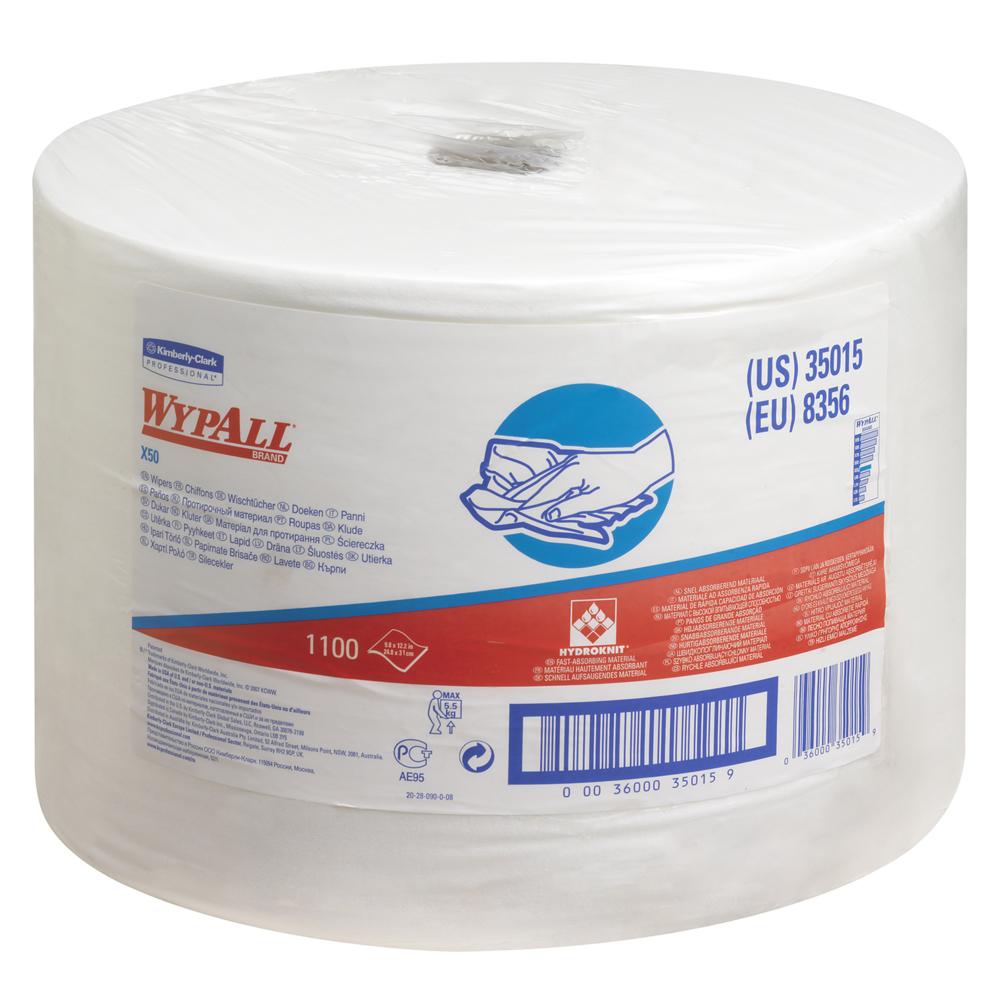 Kimberly-Clark®Wypall X 50, tööstuslik päevalapp rullis, pakis 1 x 374 m, valge