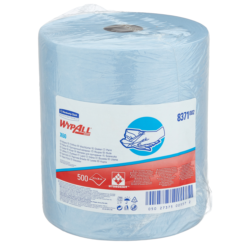 Kimberly-Clark® Wypall X 60, tööstuslapp rullis, pakis 1 x 190 m, sinine