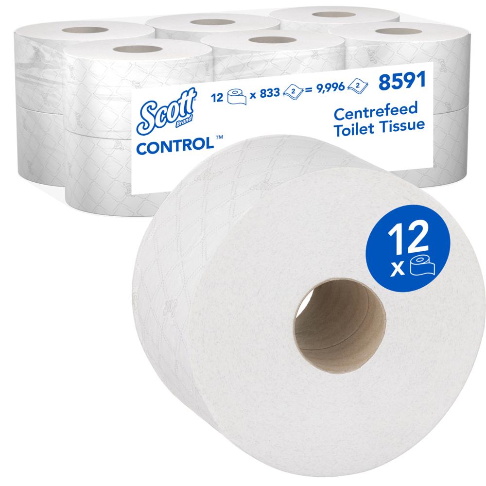 Kimberly-Clark® WC paber Scott Control kesktõmbega, valge, 204m, 833 leht , kastis 12 rulli