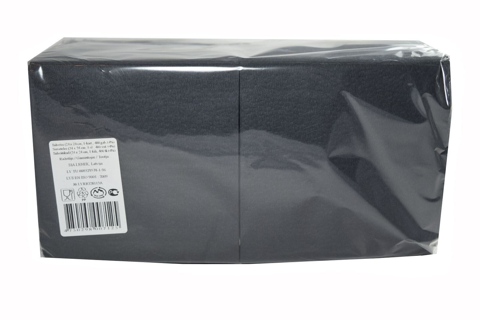 Salvrätikud 24 x 24 must, 1-kihiline, pakis 400 tk, kastis 18 pk