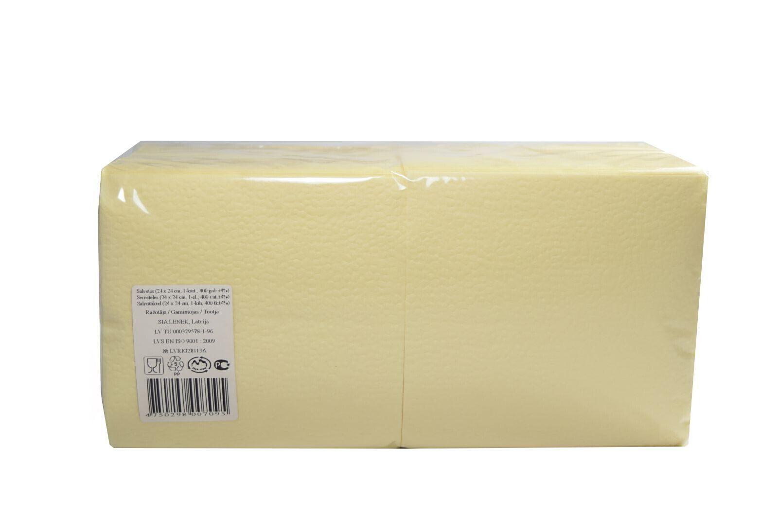 Salvrätikud 24 x 24 shampus, 1-kihiline, pakis 400 tk, kastis 18 pk