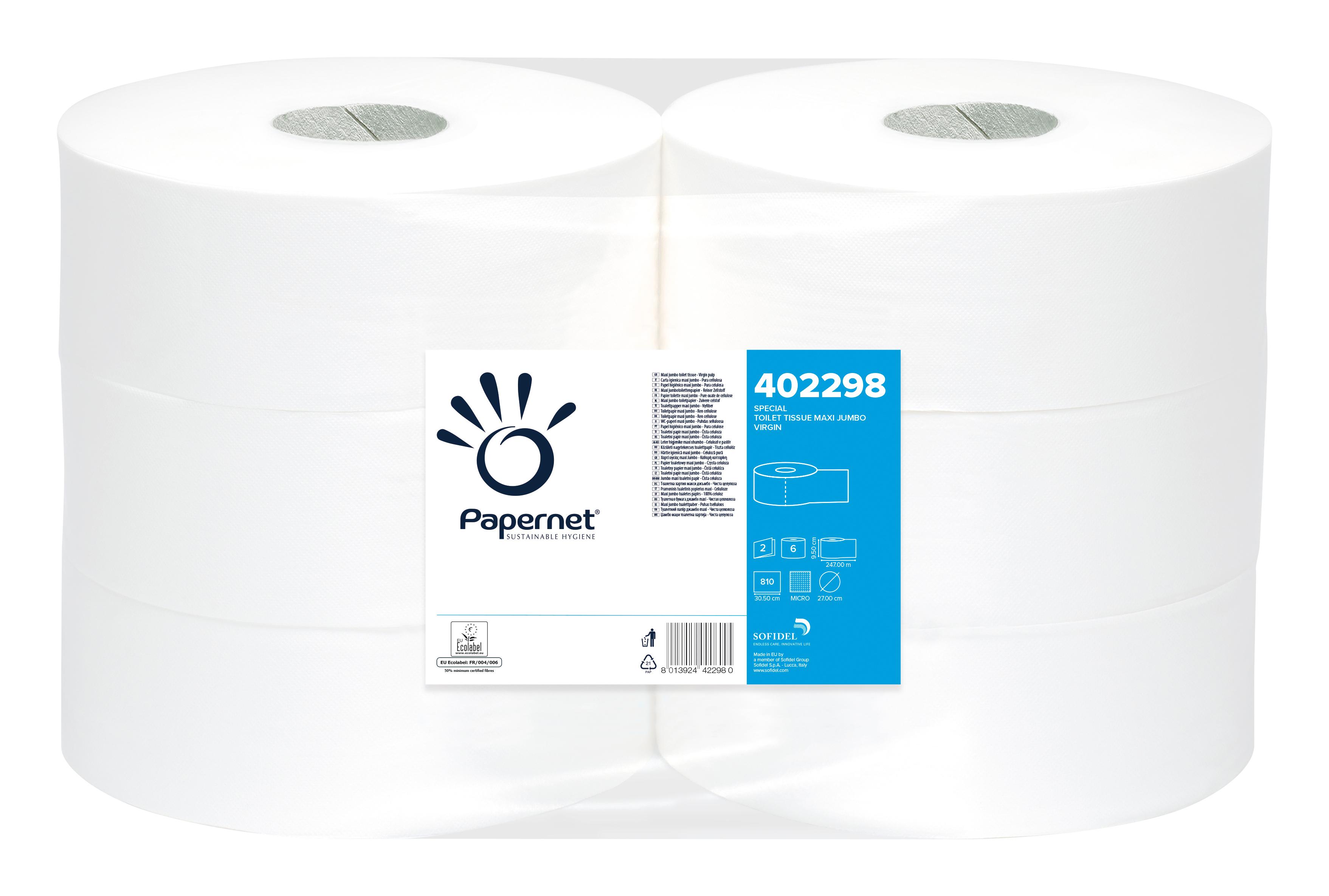 Papernet® WC Jumbo rull, pakis 6x247m, 2-kihiline, valge