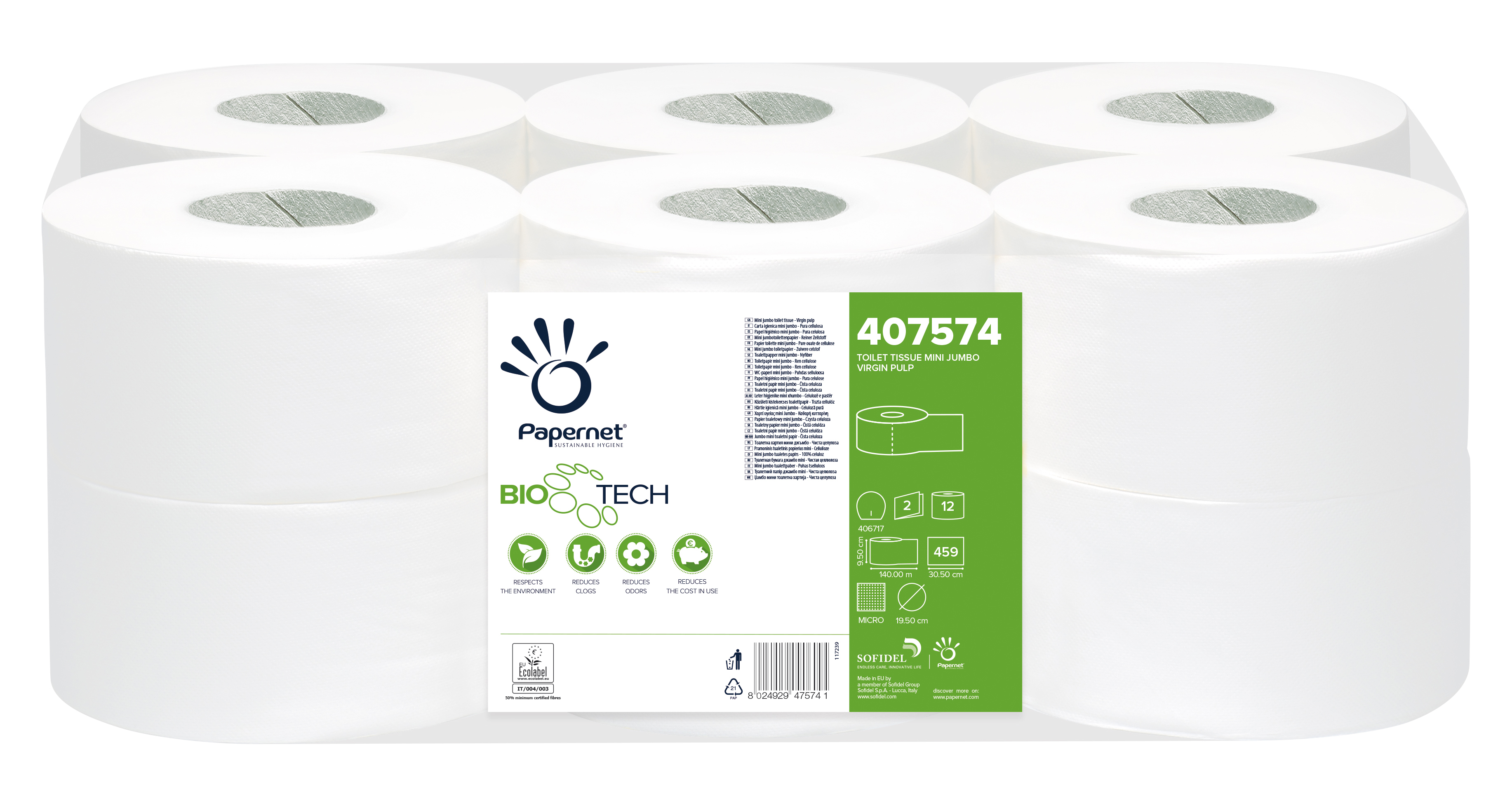 Papernet® WC Mini Jumbo rull BioTech, pakis 12x140m, 2-kihiline, valge