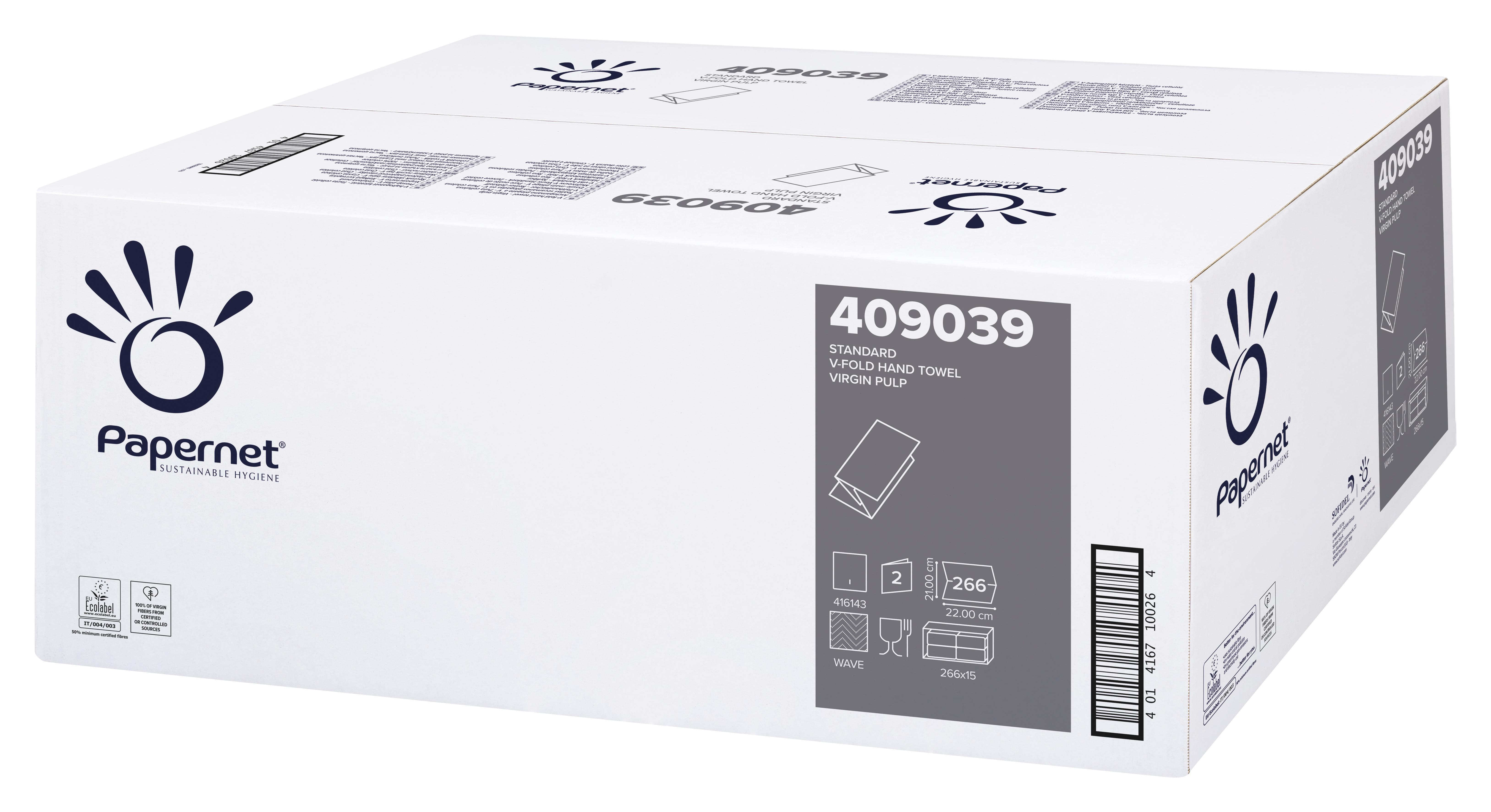 Papernet® Lehtkätepaber, V, kastis: 15pk x 266 lehte, 2-kihiline, valge