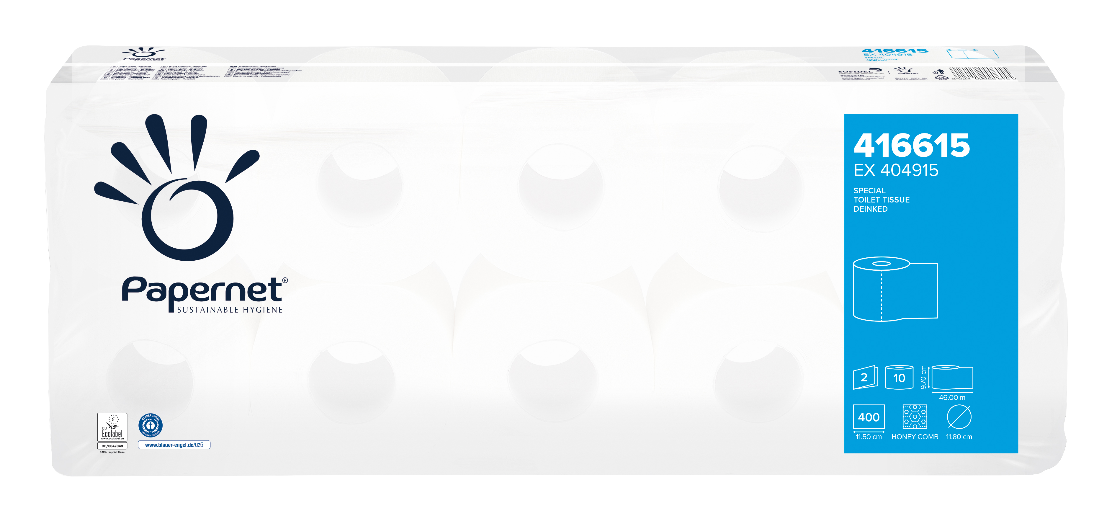 Papernet® WC paber väike rull, pakis 4 x 10 rulli, 46m, 2-kihiline, loodusvalge