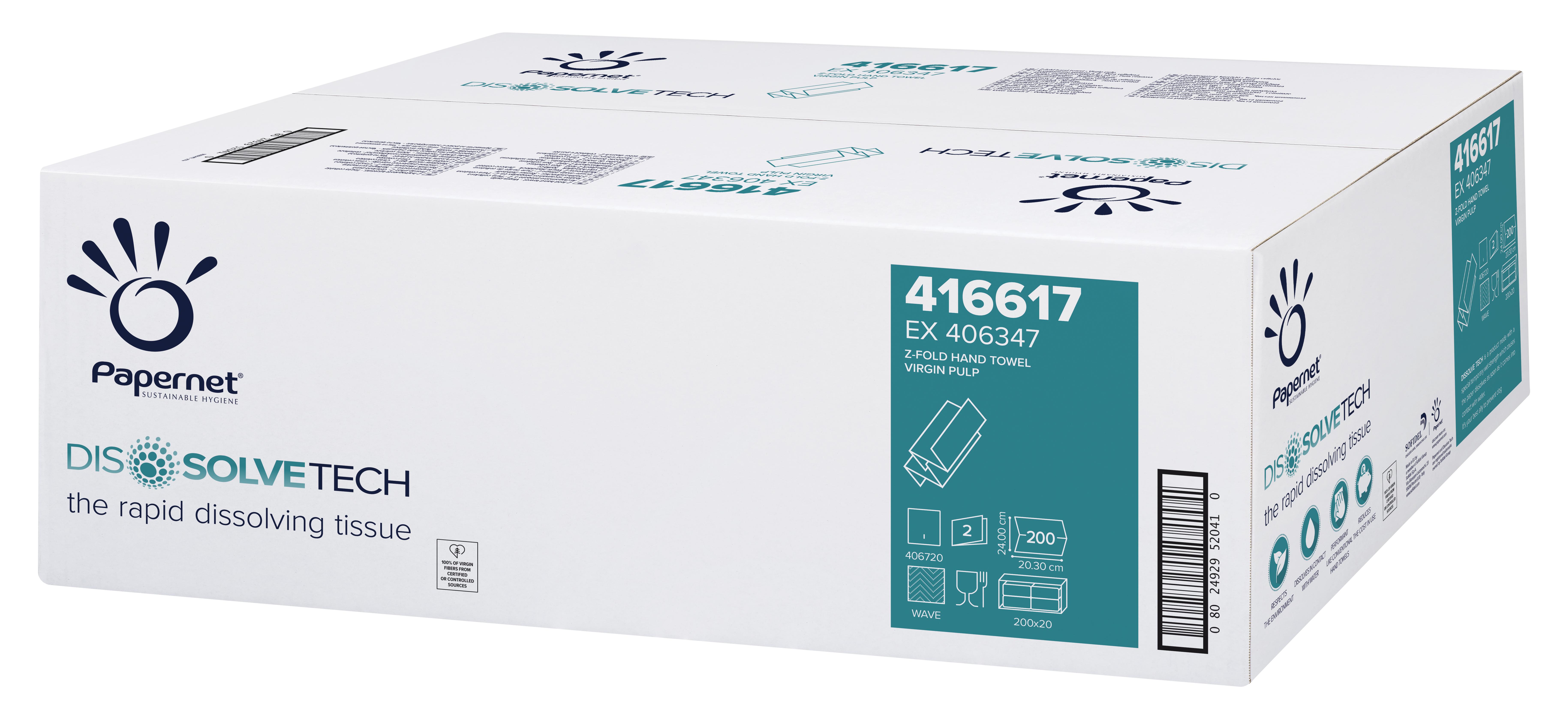 Papernet® Lehtkätepaber, Z, DissolveTech, kastis 20pk x 200 lehte, 2-kih, valge, vees lahustuv