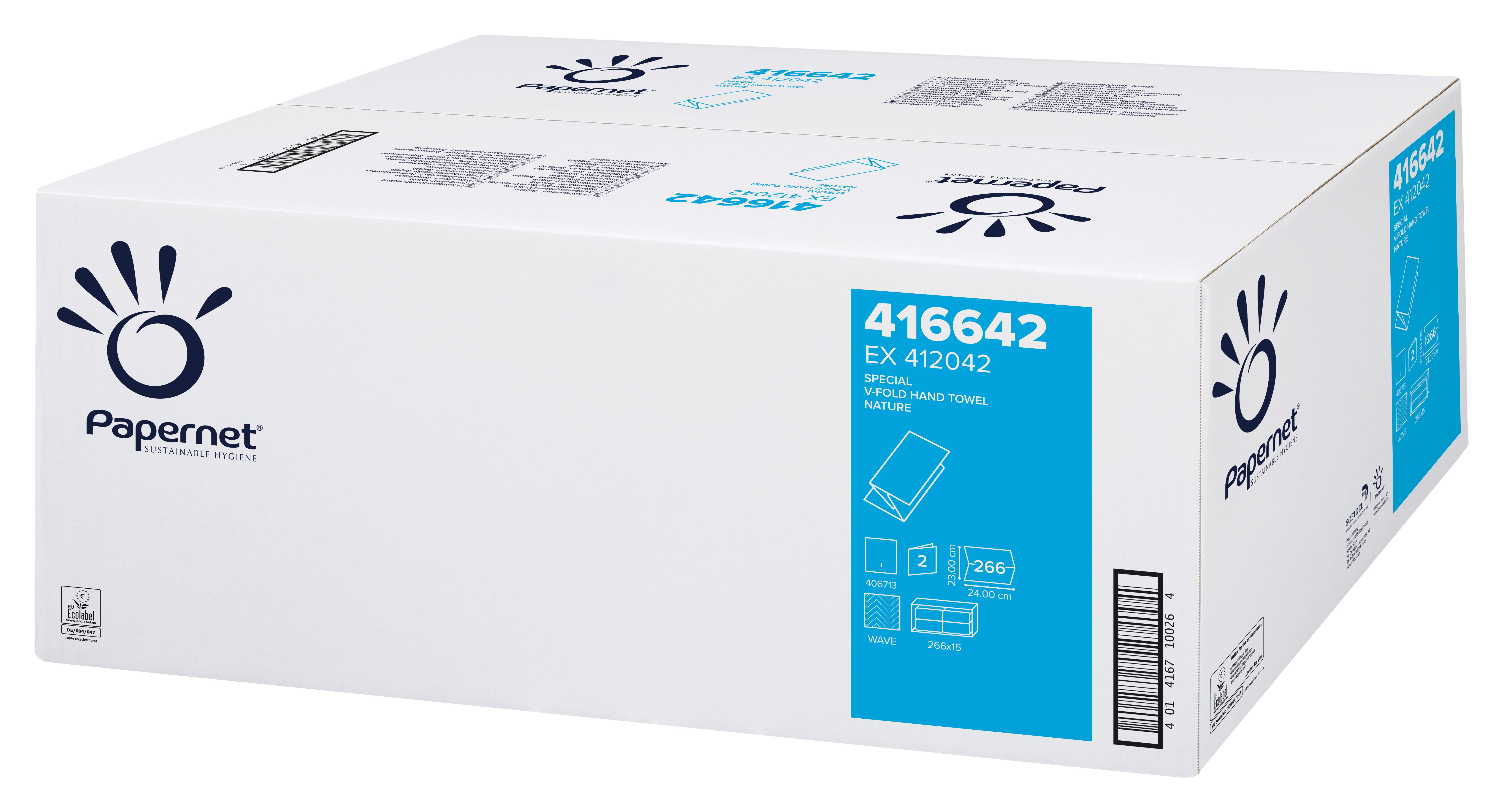 Papernet® Lehtkätepaber, V, kastis:15pk x 266 lehte, 2-kihiline, loodusvalge