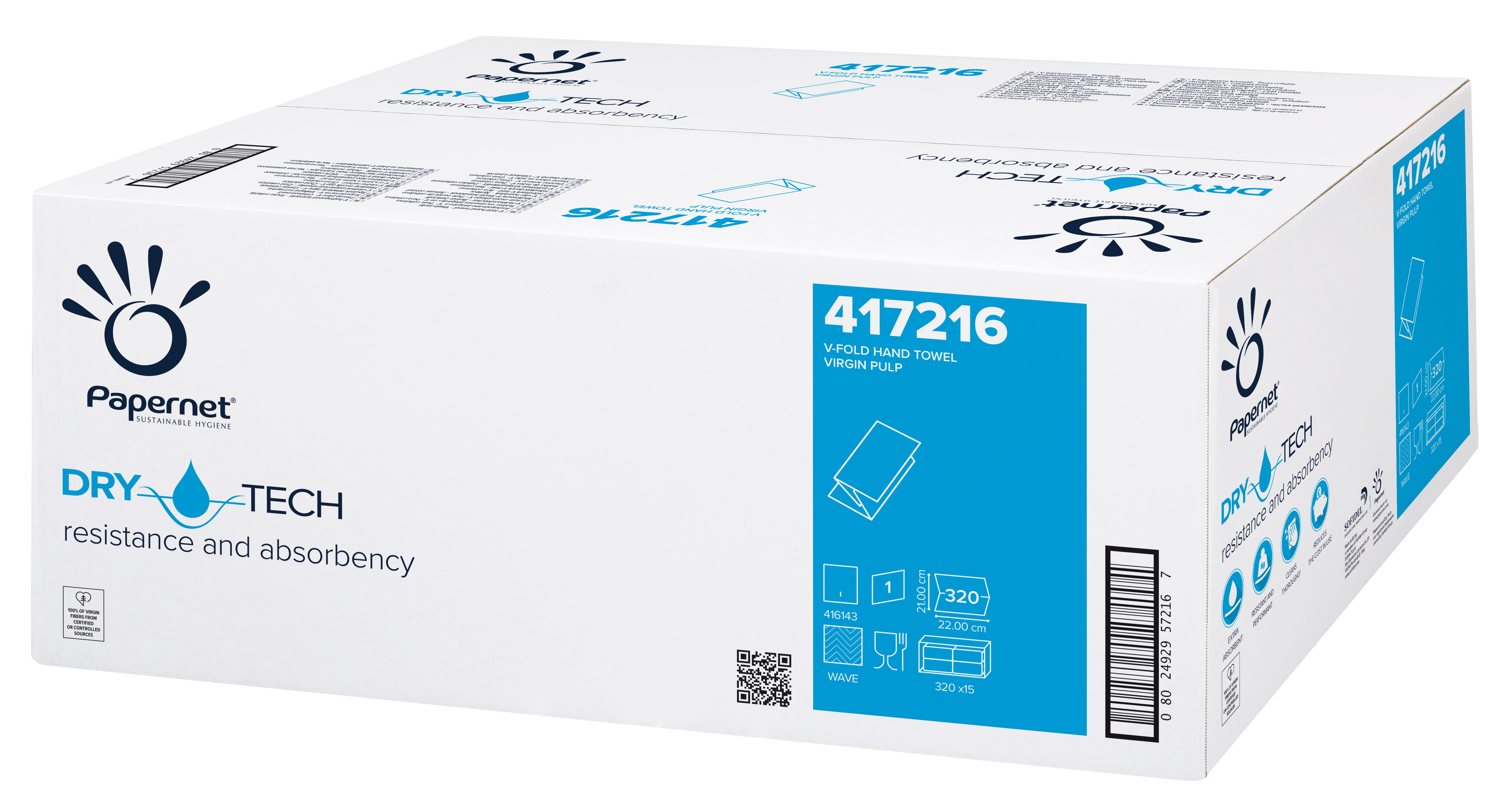 Papernet® Lehtkätepaber, V, DryTech, kastis 15pk x 320 lehte, 1-kihiline, valge