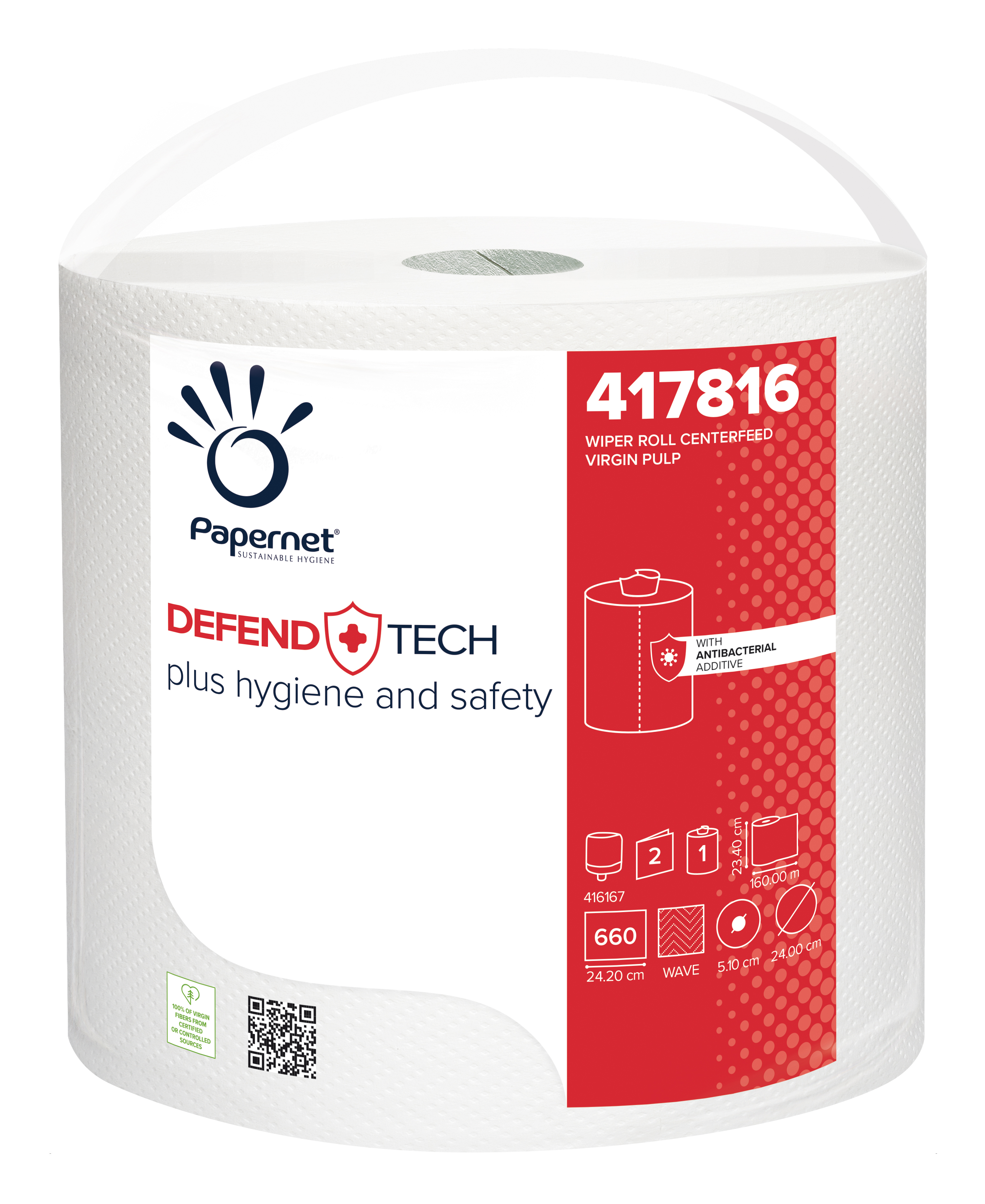 Papernet® Rullkätepaber kesktõmbega DefendTech, 2-kihiline, valge